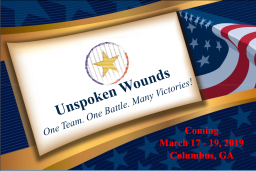Unspoken Wounds logo with gold star in center and American flag in background