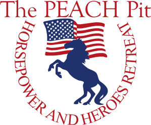 Horsepower and Heroes logo of horse and U.S. flag